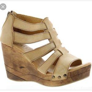 Bed Stu Olinda Wood Wedge Sandals Driftwood 7.5